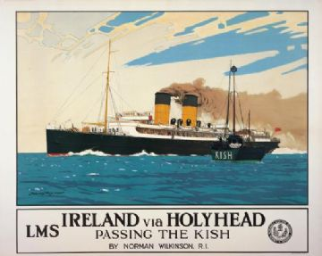 Ireland via Holyhead, Passing the Kish Irish Travel poster print by Norman Wilkinson